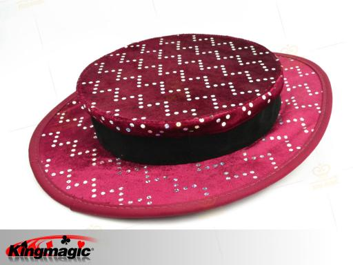 Folding Top Hat - red with silver