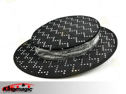 Folding Top Hat - black with silver