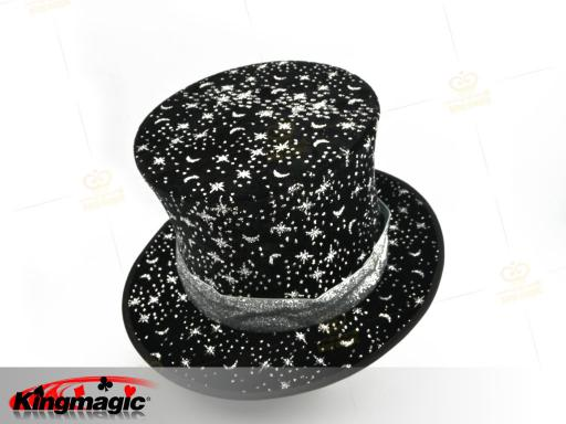 Folding Top Hat - Stars and the Moon (Black)